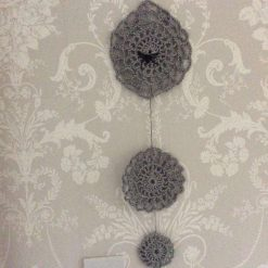 Halloween silver sparkle crochet Spider Web wall decoration