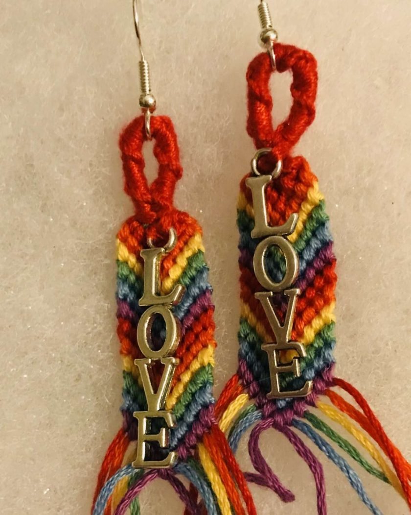 Rainbow Pride 🌈 Earrings with Love Charm 1