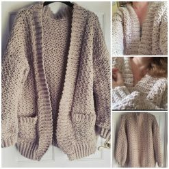Crochet Oversized Cardigan, Chunky Knit sweater Birthday Easter gift for her.