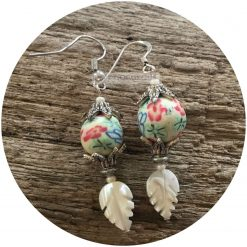 Funky boho MOP feather and clay bead earrings