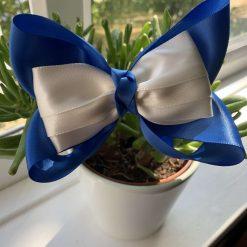 Botike bow - Blue and Ivory satin