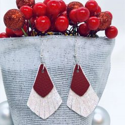 Festive, sparkly, red and white fringe earrings for Christmas