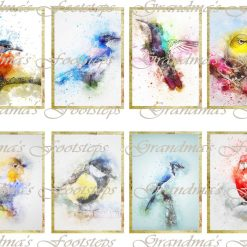Watercolour Birds, Journal Ephemera, Labels, Tags, Junk Journal, Card Making, Journal Cards, ATC, Card Toppers.