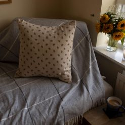 "Rustic Small Bumble Bee Double Sided Print. Duck Feather Cushion 20"" x 20"""