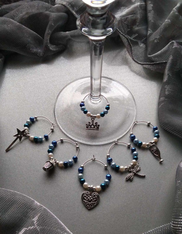 Christmas ideas: Blue wine glass charms #1 1