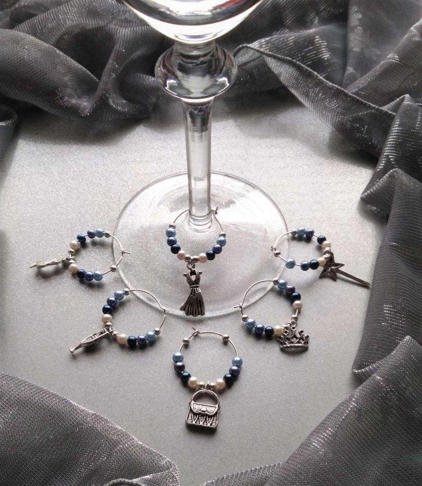 Christmas ideas: Blue wine glass charms #2 1