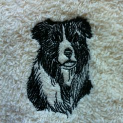 Personalised embroidered Border Collie face flannel/cloth, price £4.45 5