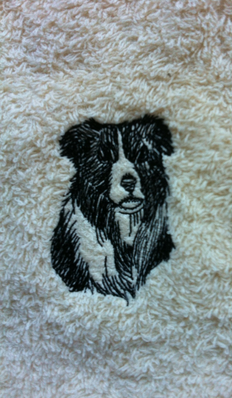 Personalised embroidered Border Collie face flannel/cloth, price £4.45 1