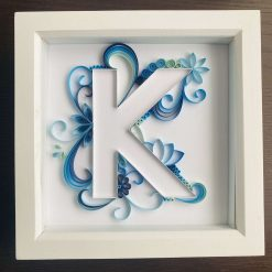 Blue Edged Quilling Art Letter Box Frame- great nursery bedroom wall decor