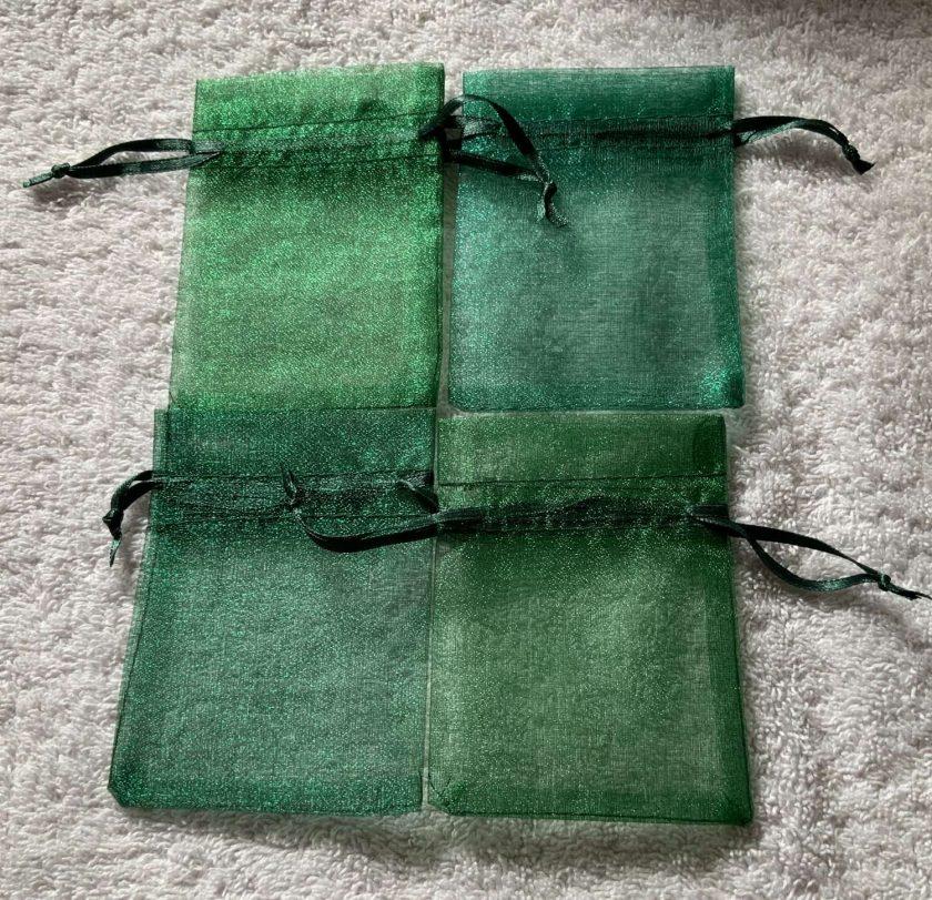 50 Christmas Green Small Organza Gift Bags 3