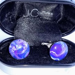 Ooak handcrafted blue, purple & white swirly Polymer Clay Cufflinks