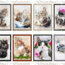 Watercolour Cats, Journal Ephemera, Labels, Tags, Junk Journal, Card Making, Journal Cards, ATC, Card Toppers.
