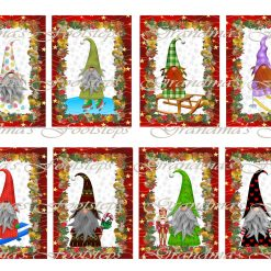 Christmas Gnomes 2, Journal Ephemera, Labels, Tags, Junk Journal, Card Making, Journal Cards, ATC, Card Toppers.