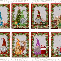 Christmas Gnomes, Journal Ephemera, Labels, Tags, Junk Journal, Card Making, Journal Cards, ATC, Card Toppers.
