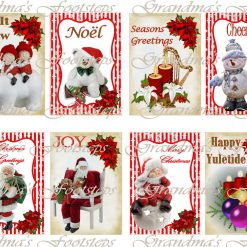Christmas Tags, Journal Ephemera, Labels, Tags, Junk Journal, Card Making, Journal Cards, ATC, Card Toppers