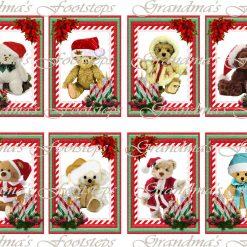 Christmas Teddies, Journal Ephemera, Labels, Tags, Junk Journal, Card Making, Journal Cards, ATC, Card Toppers