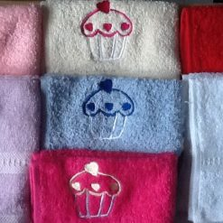 Personalised egyptian face flannel/cloth, cupcake design, price £4.45 5