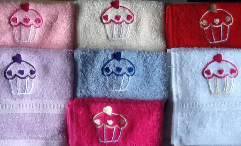 Personalised egyptian face flannel/cloth, cupcake design, price £4.45 1