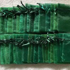 50 Christmas Green Small Organza Gift Bags 11