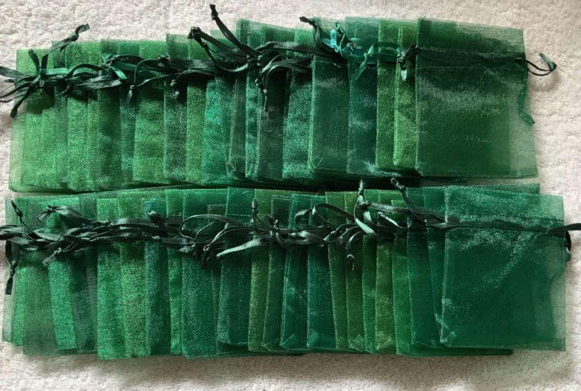 50 Christmas Green Small Organza Gift Bags 6