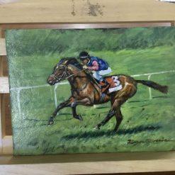 Original Oil Painting of Horse & Jockey Racing entitled 'Downhill'
