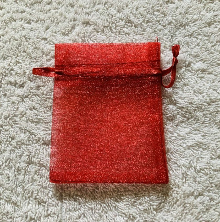 50 Christmas Red Small Organza Gift Bags 3