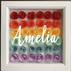 Personalised Rainbow Roses in Box Frame