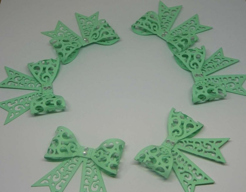 15 x Filigree Bows, Mint Green, Card Making Embellishments, Toppers, 1