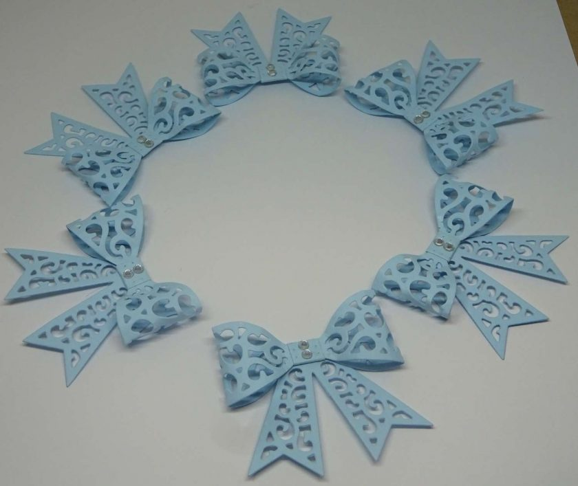 15 x Filigree Bows, Pale Blue, Card Making Embellishments, Toppers, 1