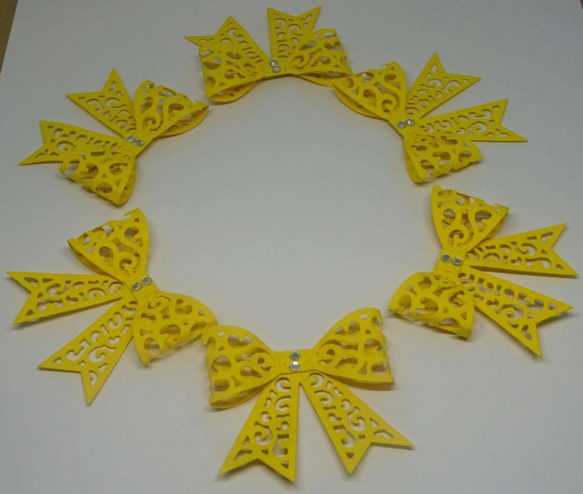 15 x Filigree Bows, Dark Yellow, Card Making Embellishments, Toppers, 1