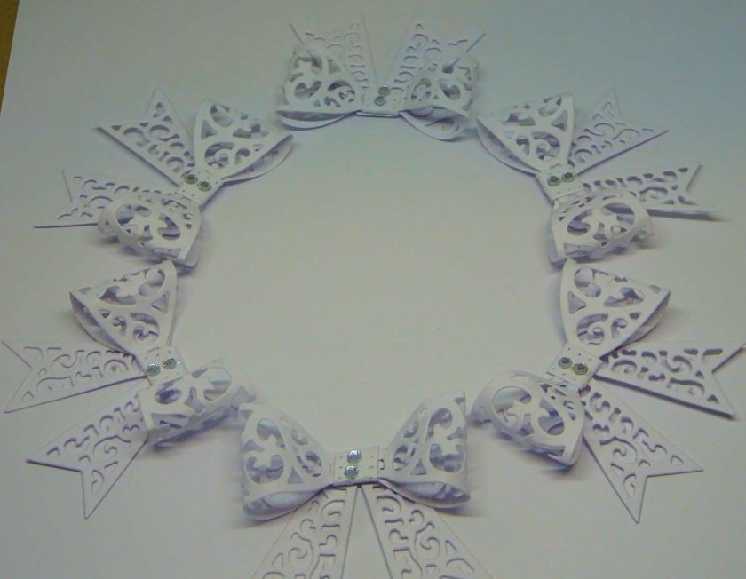 15 x Filigree Bows, White, Card Making Embellishments, Toppers, 1