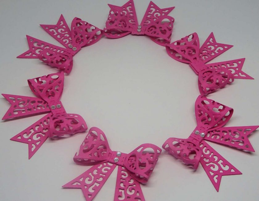 15 x Filigree Bows, Dark Pink, Card Making Embellishments, Toppers, 1