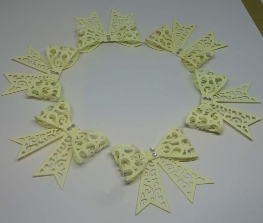 15 x Filigree Bows, Pale Yellow, Card Making Embellishments, Toppers, 1
