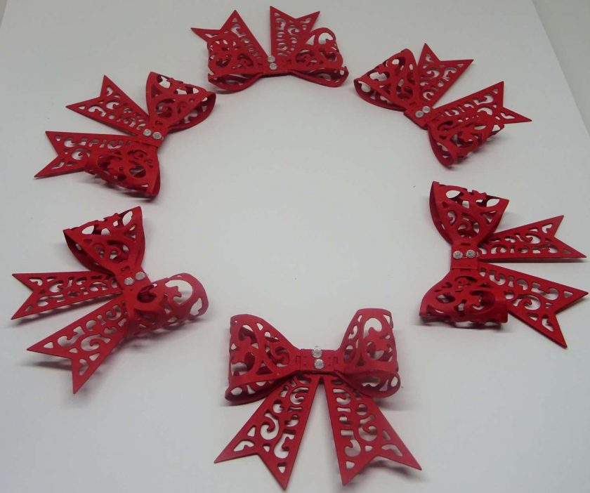 15 x Filigree Bows, Red, Card Making Embellishments, Toppers, 1