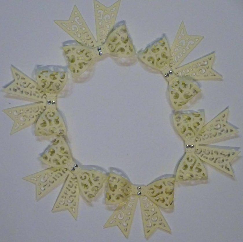 15 x Filigree Bows, Cream, Card Making Embellishments, Toppers, 1