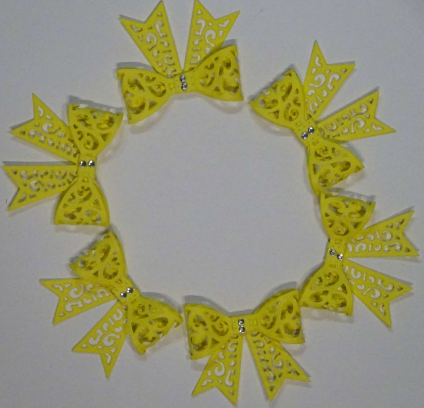 15 x Filigree Bows, lemon, Card Making Embellishments, Toppers, 1