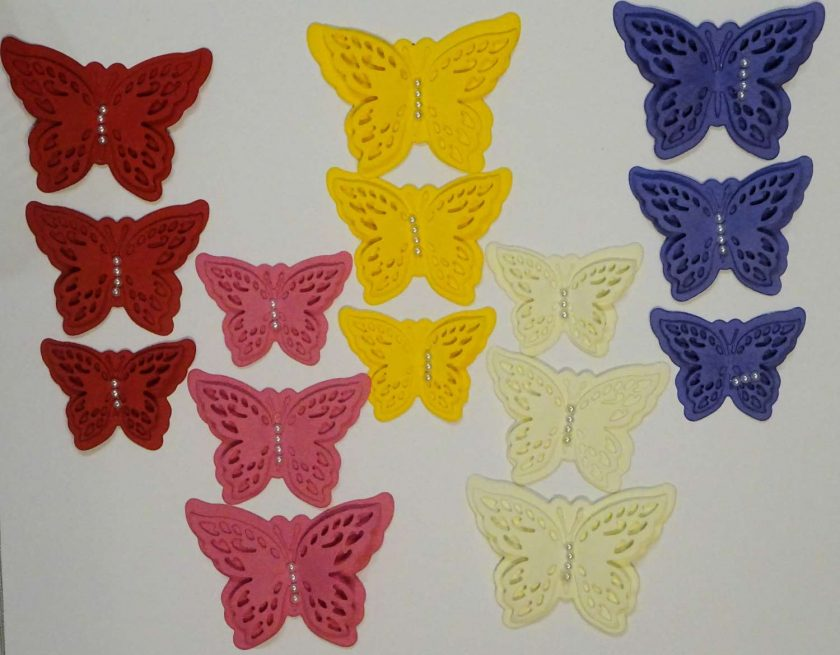 15 x Die Cut Butterflies, one of each size/colour, Card Making Embellishments, Toppers Set 3 1
