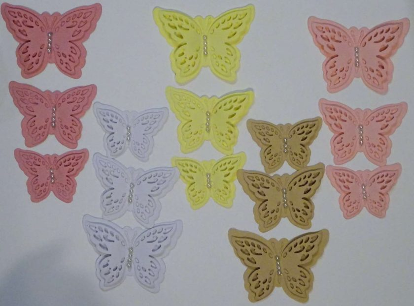 15 x Die Cut Butterflies, one of each size/colour, Card Making Embellishments, Toppers Set 1