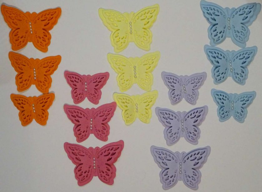 15 x Die Cut Butterflies, one of each size/colour, Card Making Embellishments, Toppers Set 6 1