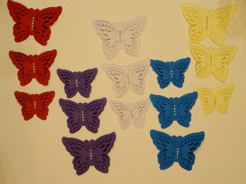 15 x Die Cut Butterflies, one of each size/colour, Card Making Embellishments, Toppers Set 7 1