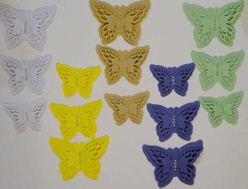 15 x Die Cut Butterflies, one of each size/colour, Card Making Embellishments, Toppers Set 8 1