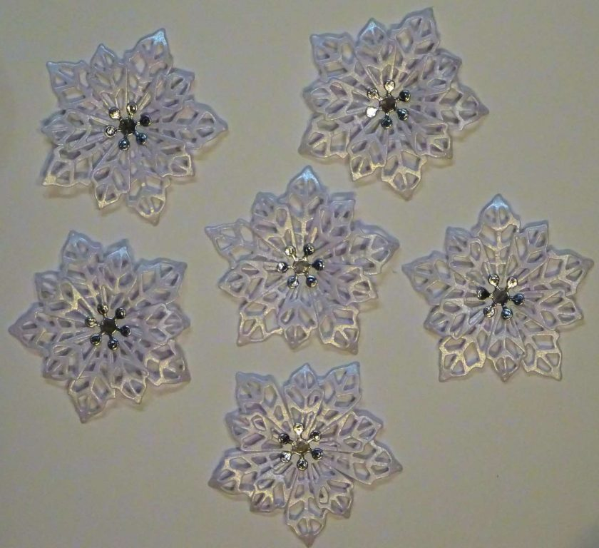 6 x Filigree Flowers, Pearl Card, Card Making Embellishments, Toppers 1