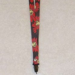 Face Mask Holder Carrier Double Sided Floral Lanyard Black & Red