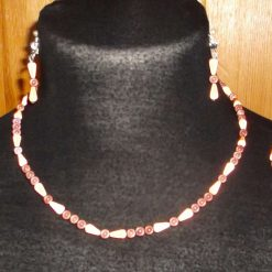 Coffee & Caramel Illusion Bead Necklace Bracelet & Earrings 3 Piece Set
