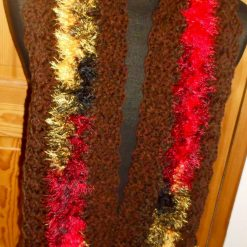 Crocheted Scarf With Tassels Brown With Fluffy Multi-coloured Zig-zag