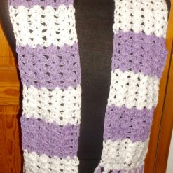 Crocheted Scarf With Tassels Lavender & White