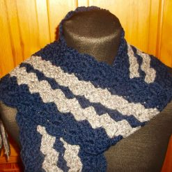 Crocheted Scarf With Tassels Green With Navy Blue Trim