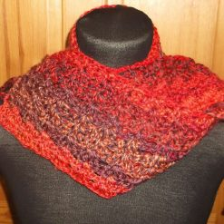 Crocheted Scarf With Tassels Terracotta Mix