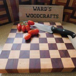 Chess board style wooden end grain chopping board