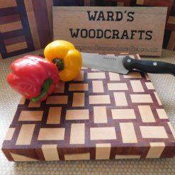 Weave pattern wooden end grain chopping board